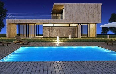 piscina illuminata a led